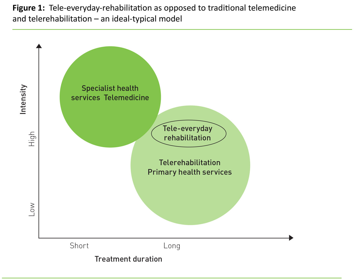 Figure 1: Tele-everyday-rehabilitation as opposed to traditional telemedicine and telerehabilitation – an ideal-typical model